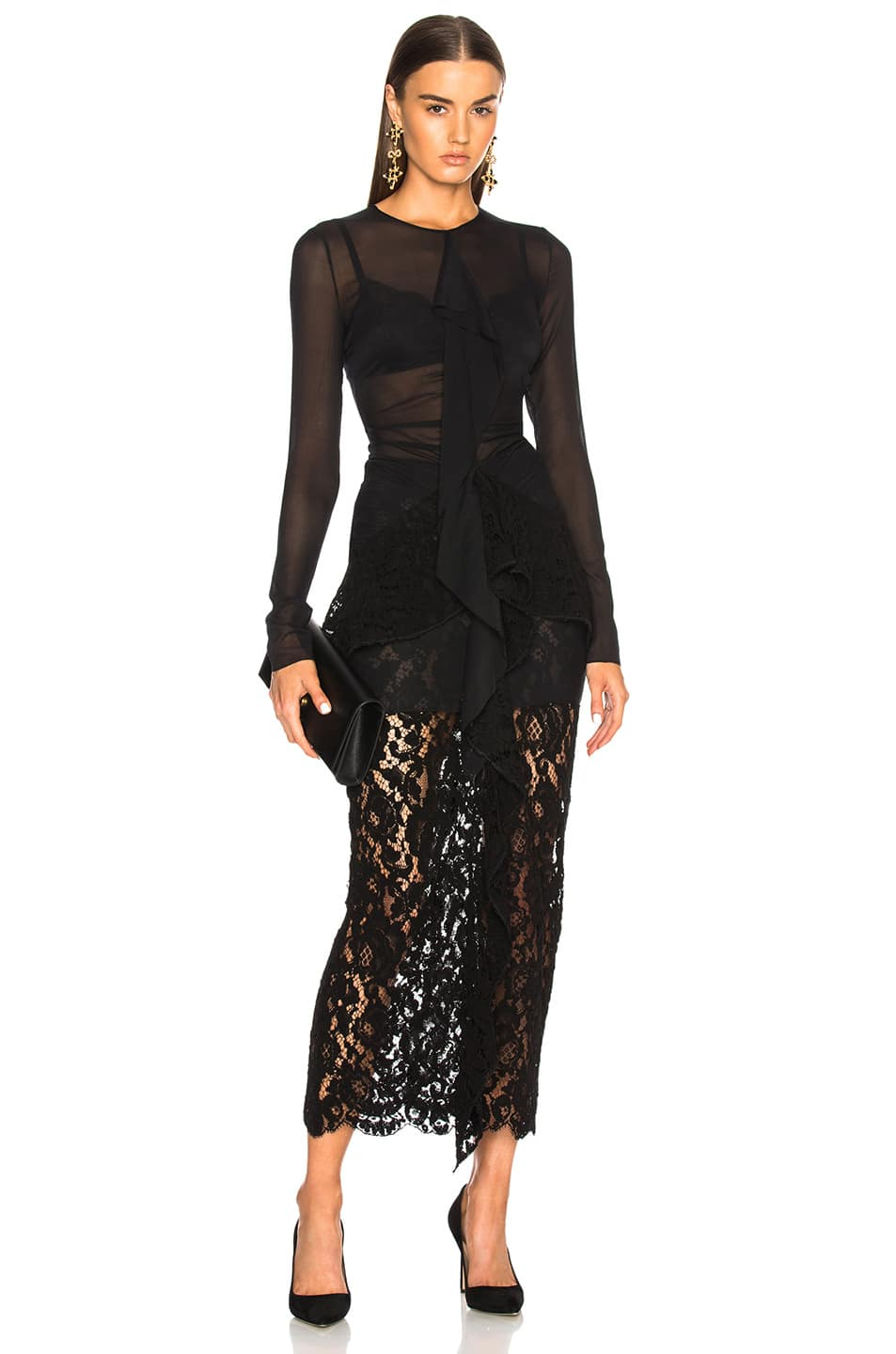 4fa4f4f51 PROENZA SCHOULER Corded Lace Long Sleeve Maxi Black Dress - We ...