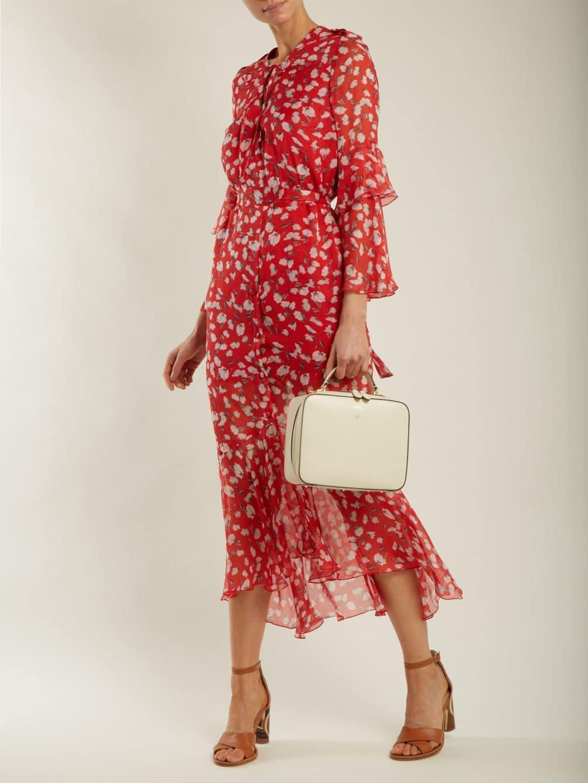 Raquel Diniz Arin Floral Print Silk Chiffon Midi Red Dress