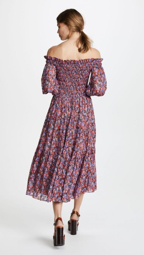 b8a1de9fb35f REBECCA TAYLOR Off Shoulder Cosmic Flower Pink Dress - We Select Dresses