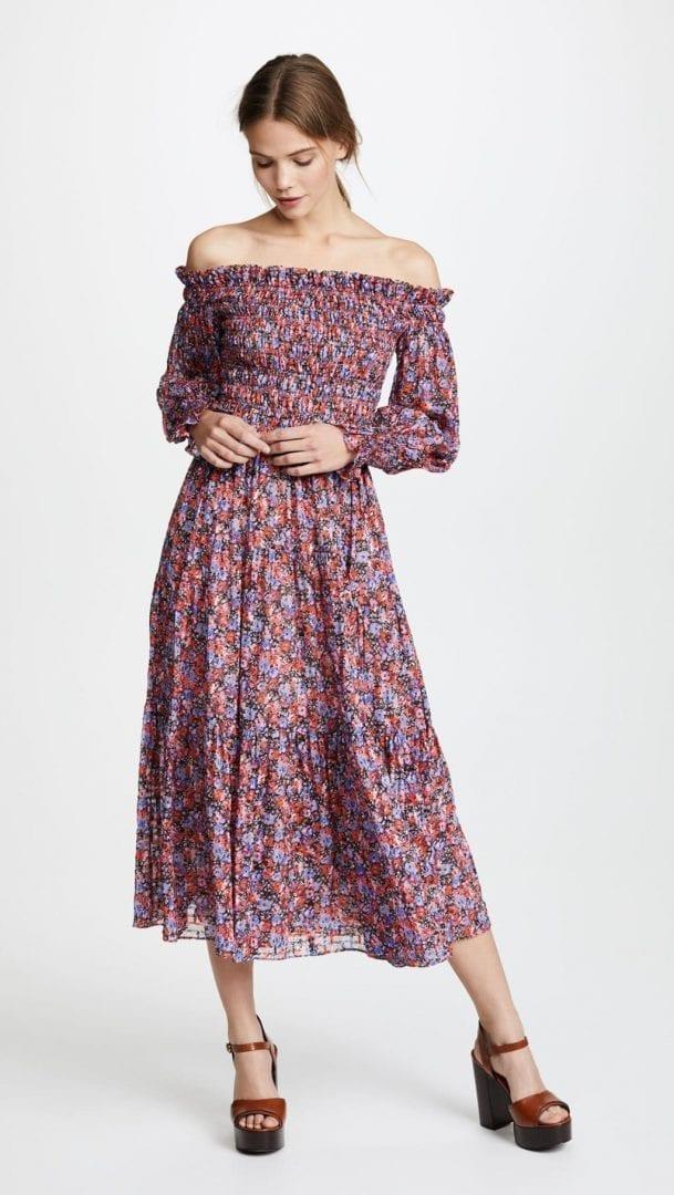 029ab2b09ad9 REBECCA TAYLOR Off Shoulder Cosmic Flower Pink Dress - We Select Dresses