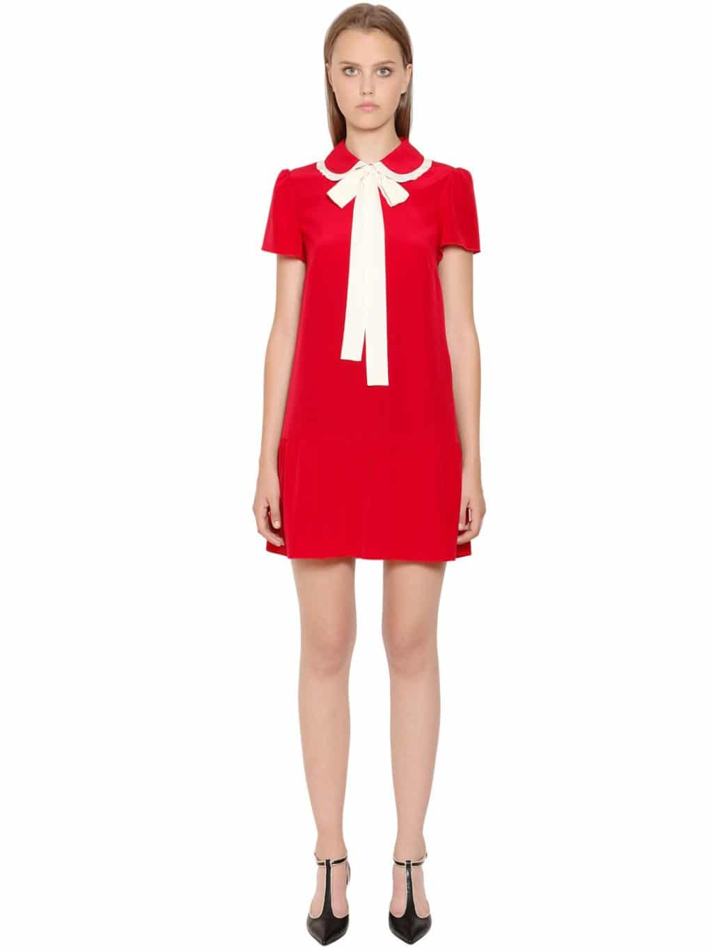 Red Valentino Bow Collar Silk Crepe De Chine Dress