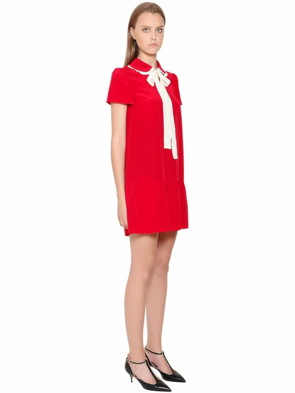 red valentino bow collar silk crepe de chine red dress