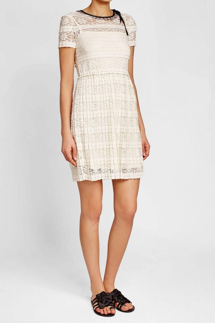Red Valentino Lace Pleats White Dress