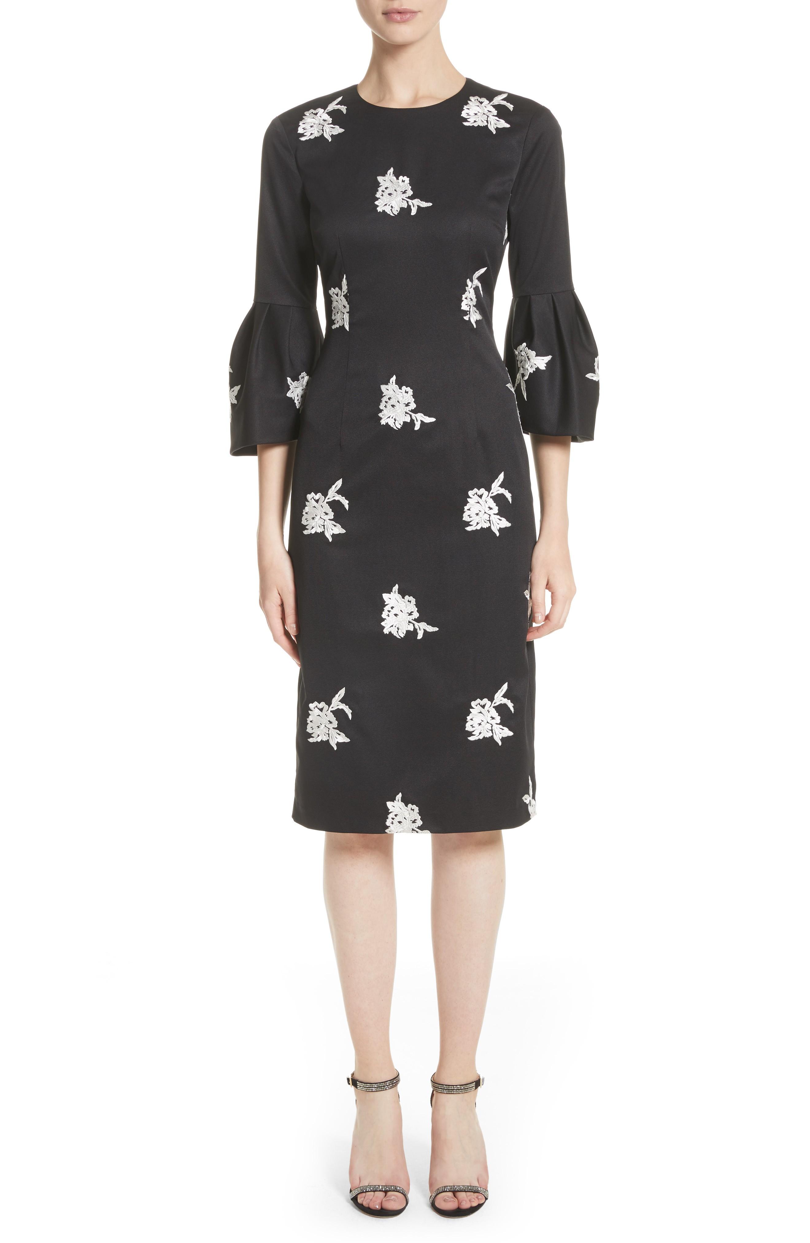 SACHIN & BABI NOIR Embroidered Bell Sleeve Sheath Black Dress