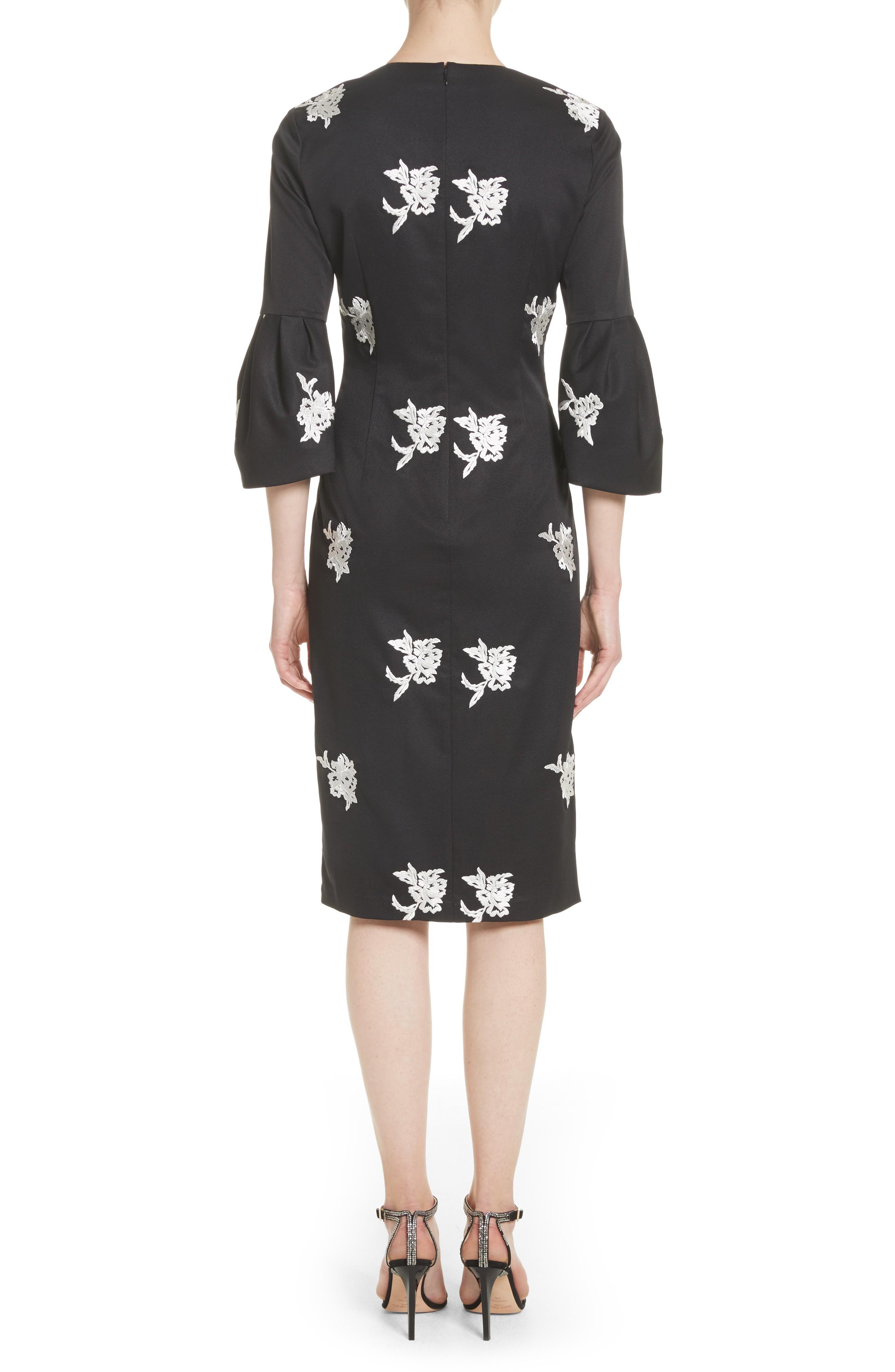 Sachin Babi Noir Embroidered Bell Sleeve Sheath Black Dress