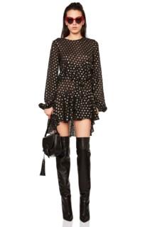 SAINT LAURENT Polka Dot Mini Black / Gold Dress