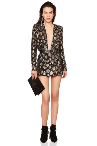 SAINT LAURENT Printed Plunging Long Sleeve Mini Black / Silver Dress