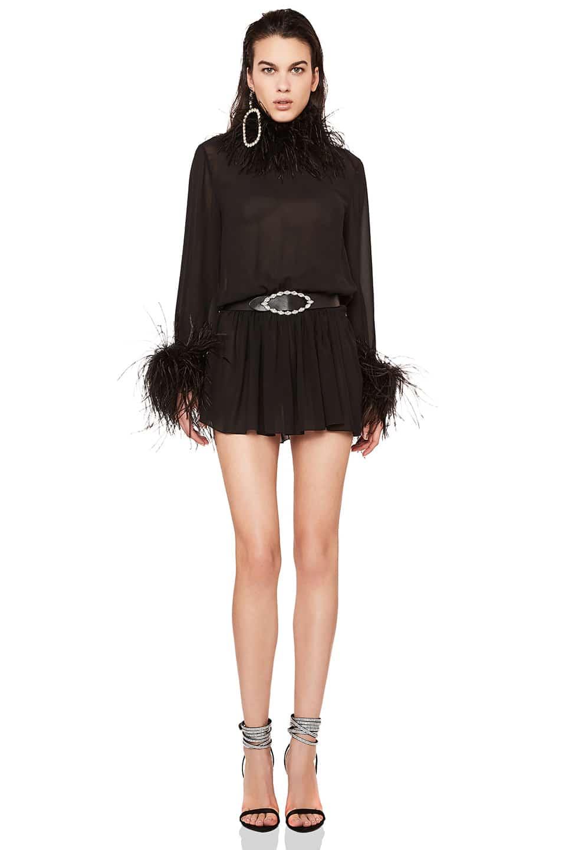d4bbe00a87 SAINT LAURENT Saint Lauren Feather Trim Washed Silk Mini Black Dress. SAINT  LAURENT Saint Lauren Feather Trim Washed Silk Mini Black Dress