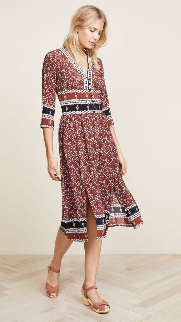 SEA Tallulah Slit Midi Brick / Multicolored Dress