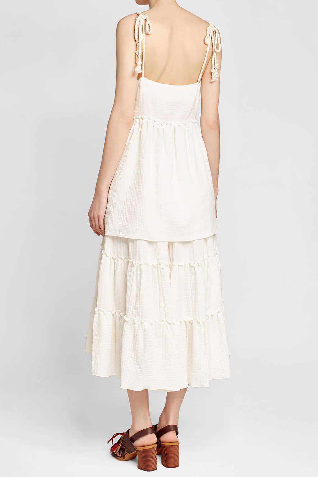 See By Chlo 201 Cotton Mini Rope Straps White Dress We