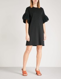 SEE BY CHLOE Bell-sleeve Cotton-jersey T-shirt Black Dress