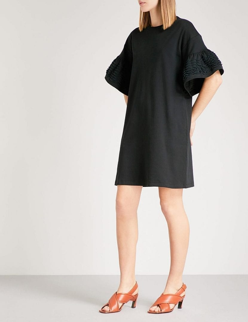 81208904baa4 SEE BY CHLOE Bell-sleeve Cotton-jersey T-shirt Black Dress - We ...