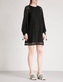 SEE BY CHLOE Crocheted Cotton Mini Black Dress
