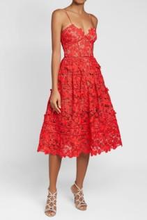 SELF-PORTRAIT Azaelea 3D Lace Fit & Flare Red Dress