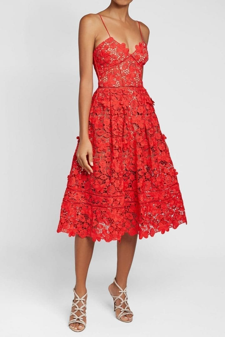 SELF-PORTRAIT Azaelea 3D Lace Fit & Flare Red Dress