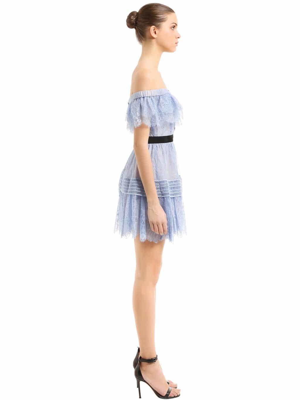 266165ff7c81 SELF-PORTRAIT Off The Shoulder Fine Lace Mini Light Blue Dress - We ...