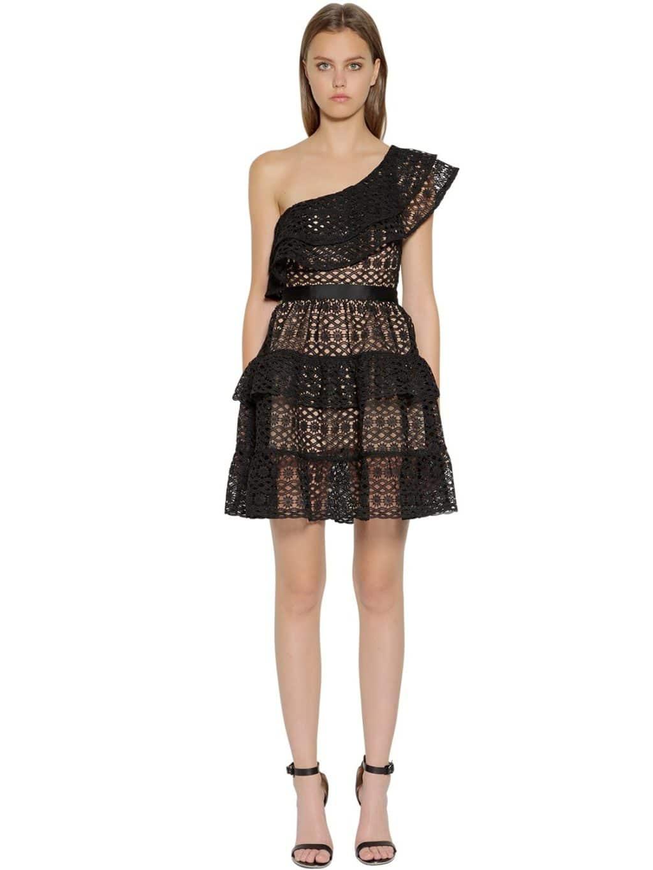 2f10cac1cc SELF-PORTRAIT One Shoulder Floral Guipure Lace Black Dress - We ...