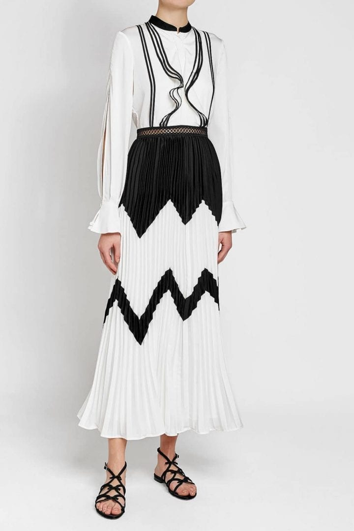 SELF-PORTRAIT Pleated Skirt With Satin White / Black Dress