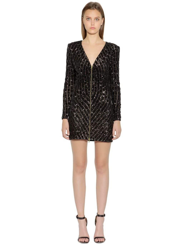 SELF-PORTRAIT Sequined Zip-up Mini Black Dress