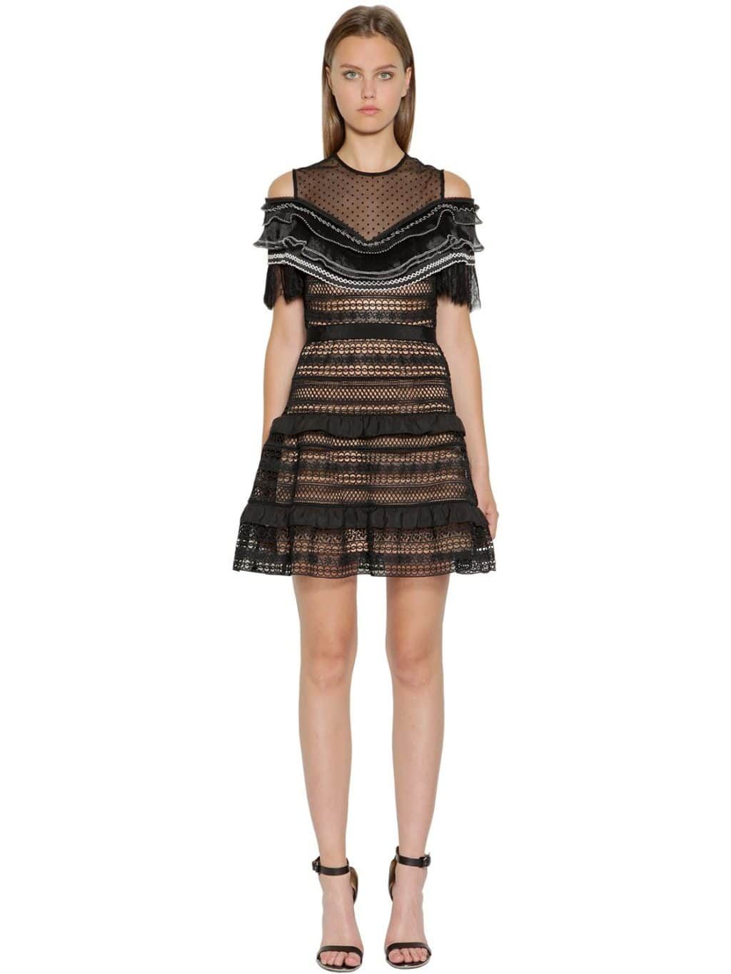 SELF-PORTRAIT Striped & Dotted Lace Black Dress