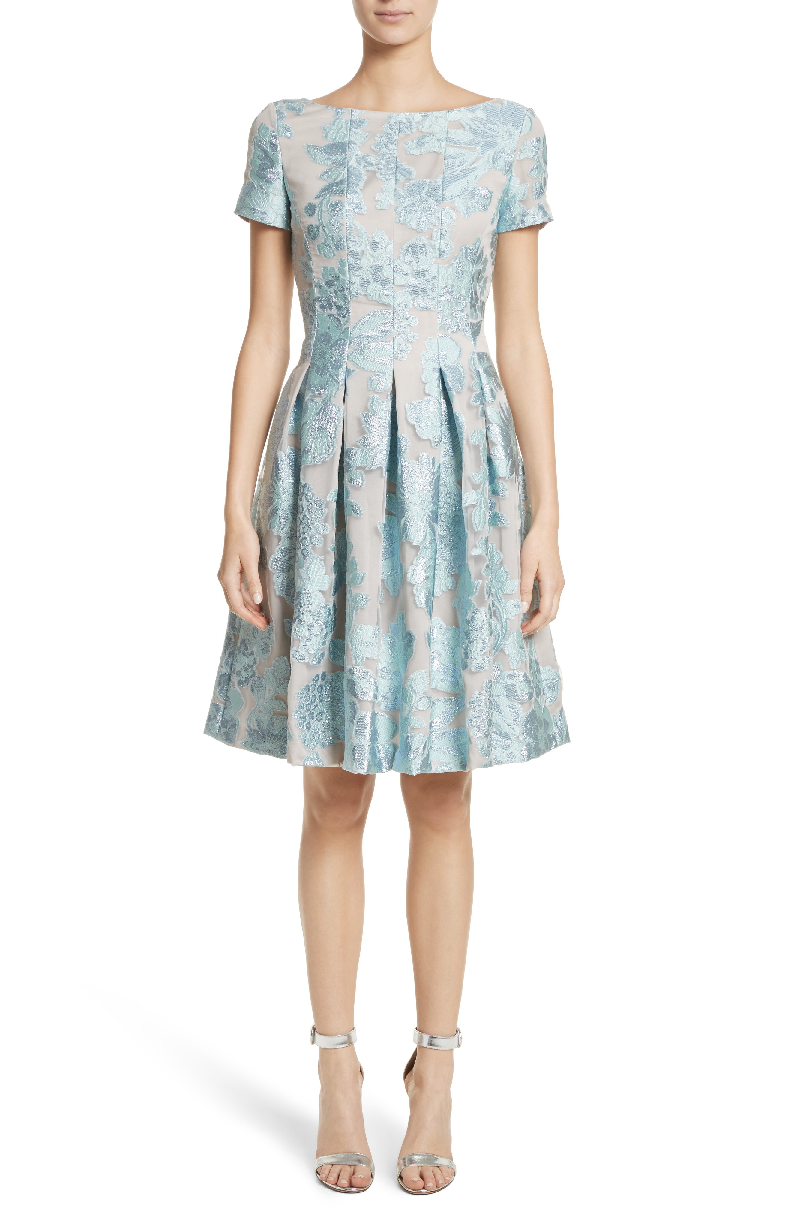 ST. JOHN COLLECTION Floral Fil Coupé Organza Mint / Silver Dress ...