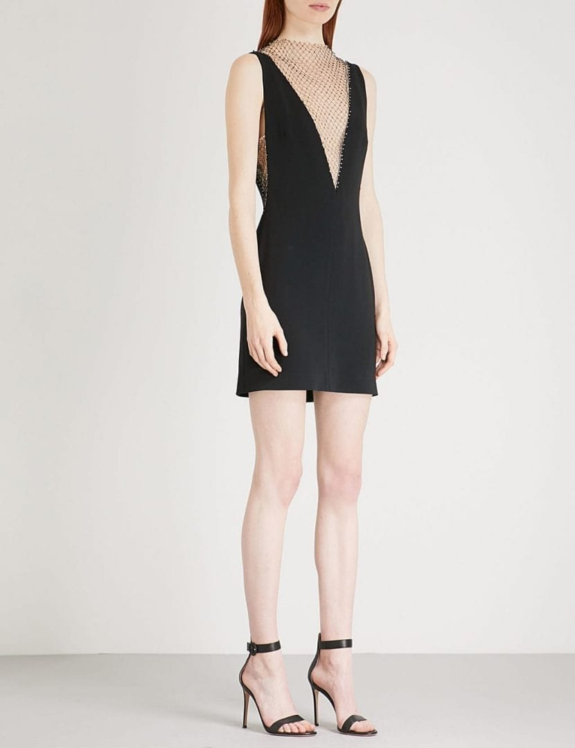 ac72d1b3a09b STELLA MCCARTNEY Jewel-embellished Woven And Mesh Mini Black Dress ...