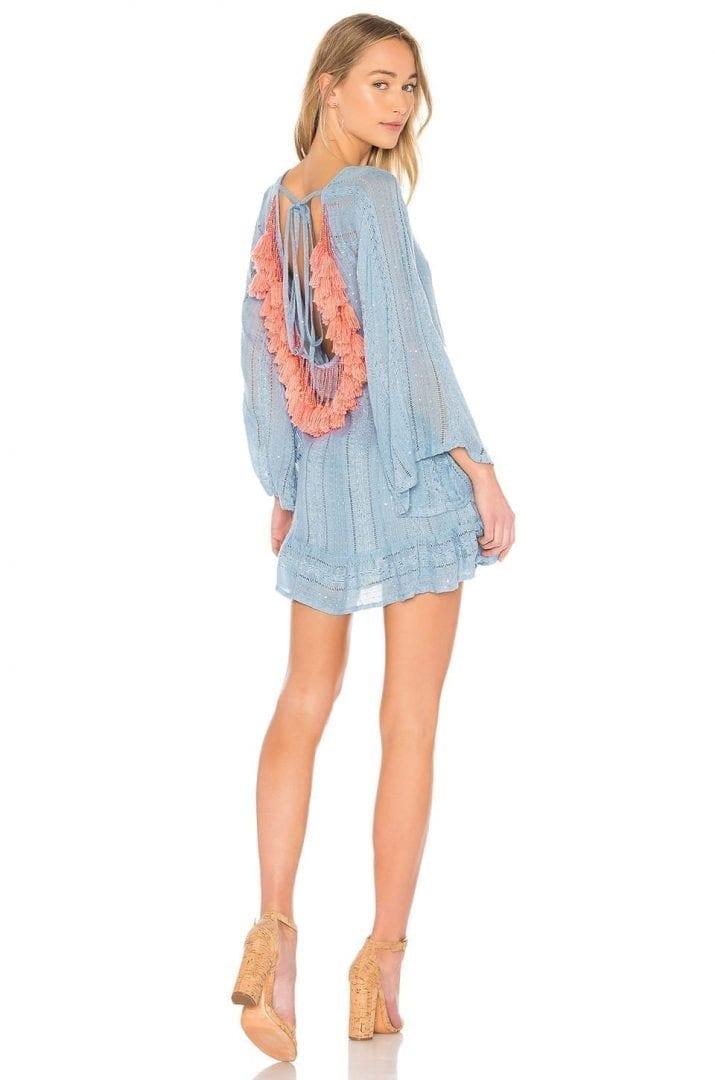 24bd7840f91 SUNDRESS Indiana Basic Petra Light Blue   Peach Dress