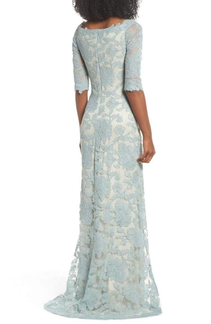 TADASHI SHOJI Embroidered Boat Neck Mermaid Mint / Natural Gown - We ...