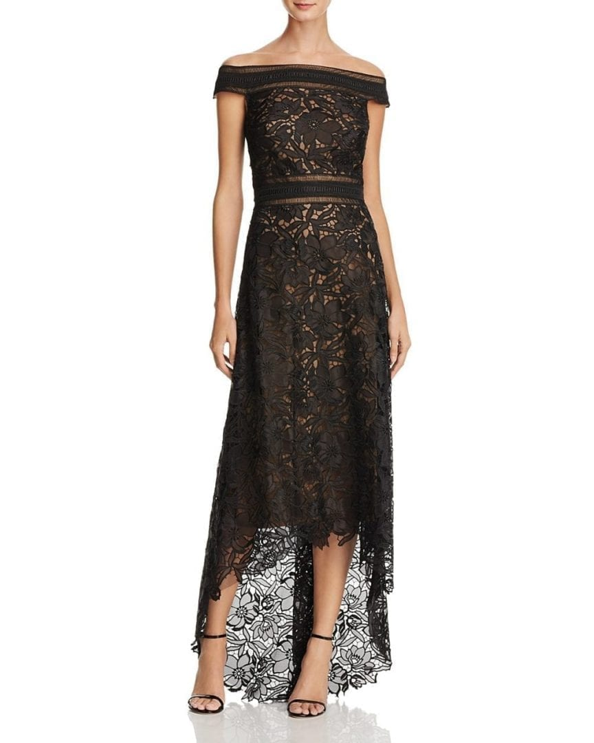 4e5b918d9ac TADASHI SHOJI Off-the-Shoulder Lace High/Low Black / Nude Gown - We ...