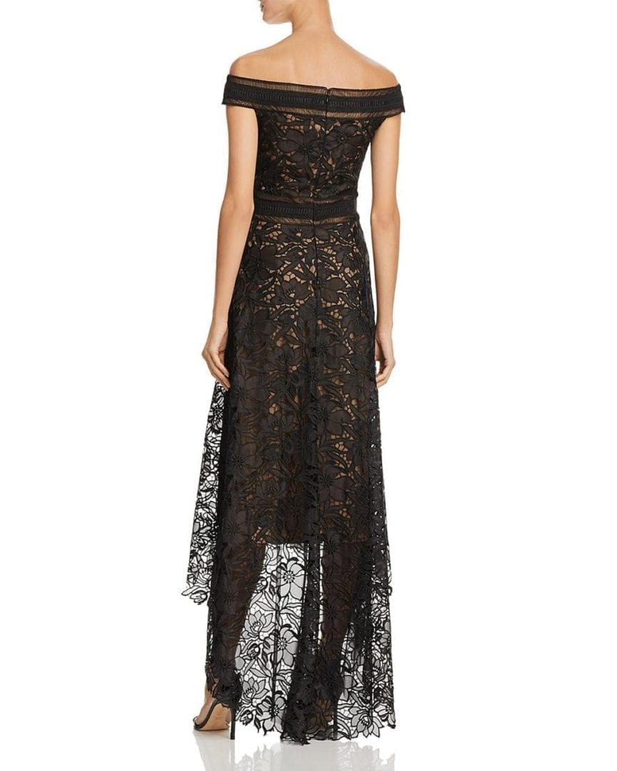 TADASHI SHOJI Off-the-Shoulder Lace High/Low Black / Nude Gown - We ...