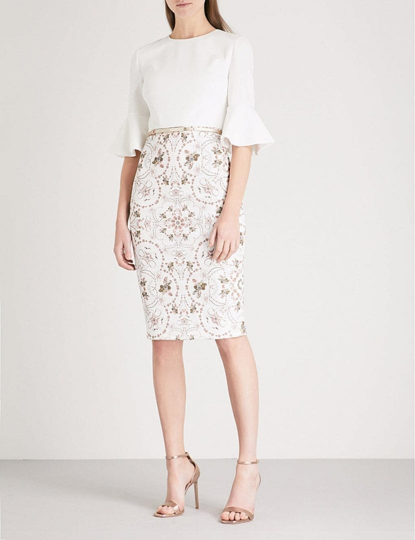 TED BAKER Barbz Printed Woven Ivory Dress