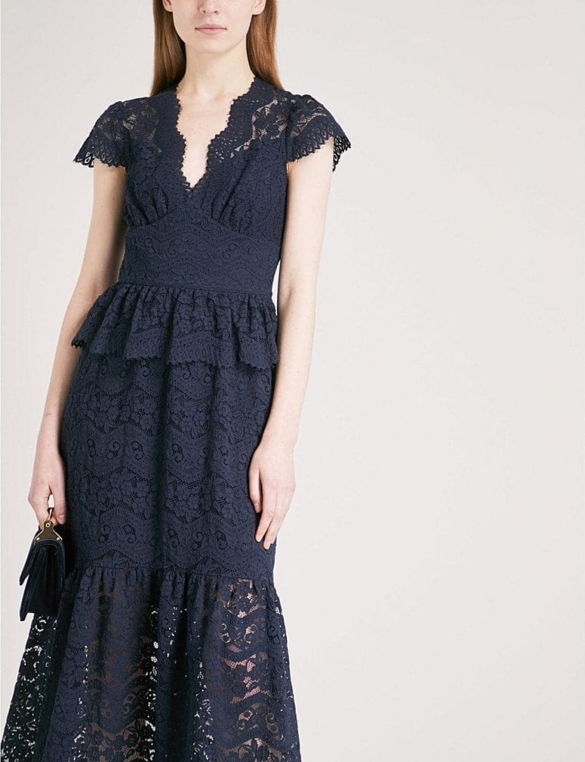 Temperley London Lunar Fit And Flare Lace Midi Midnight Dress