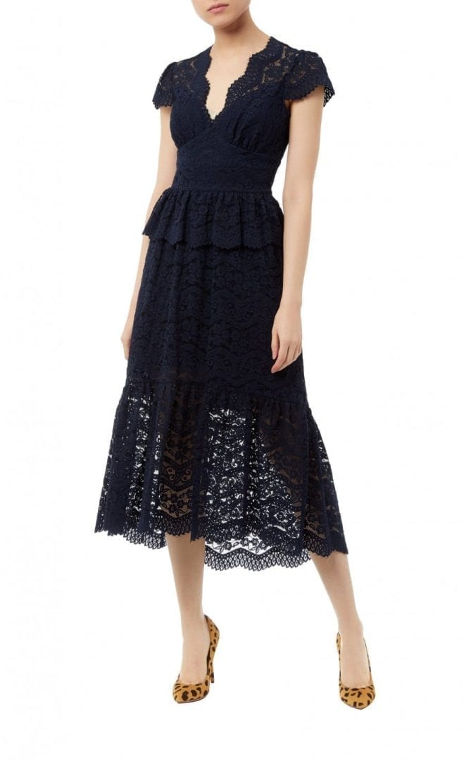 TEMPERLEYLONDON Lunar Lace V Neck Midnight Dress