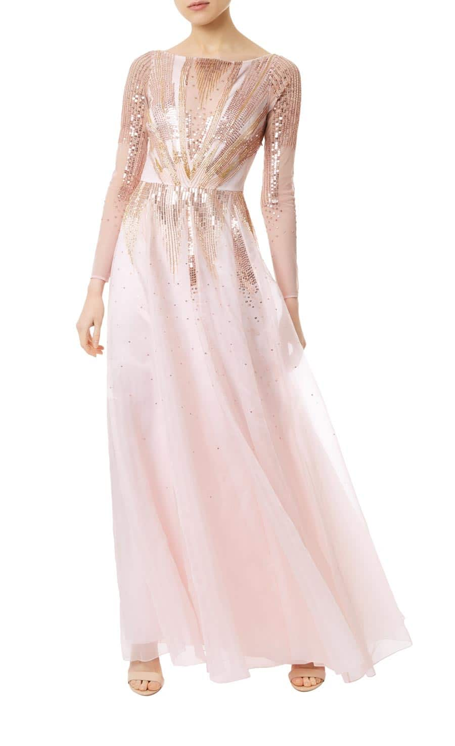 TEMPERLEYLONDON Mineral Long Pale Pink Dress