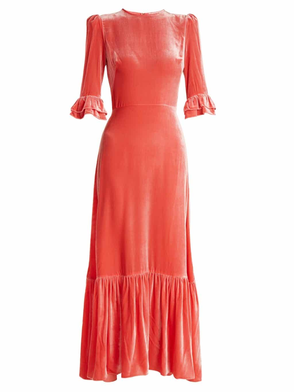 THE VAMPIRE'S WIFE Festival Ruffled Velvet Coral Pink Dress