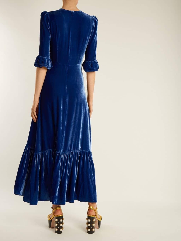 f3d1639a6c8 THE VAMPIRE S Wife Festival Ruffled Velvet Persian Blue Dress - We ...