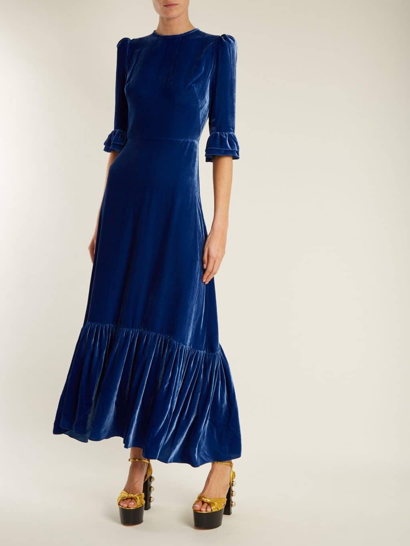 The Vampire S Wife Festival Ruffled Velvet Persian Blue