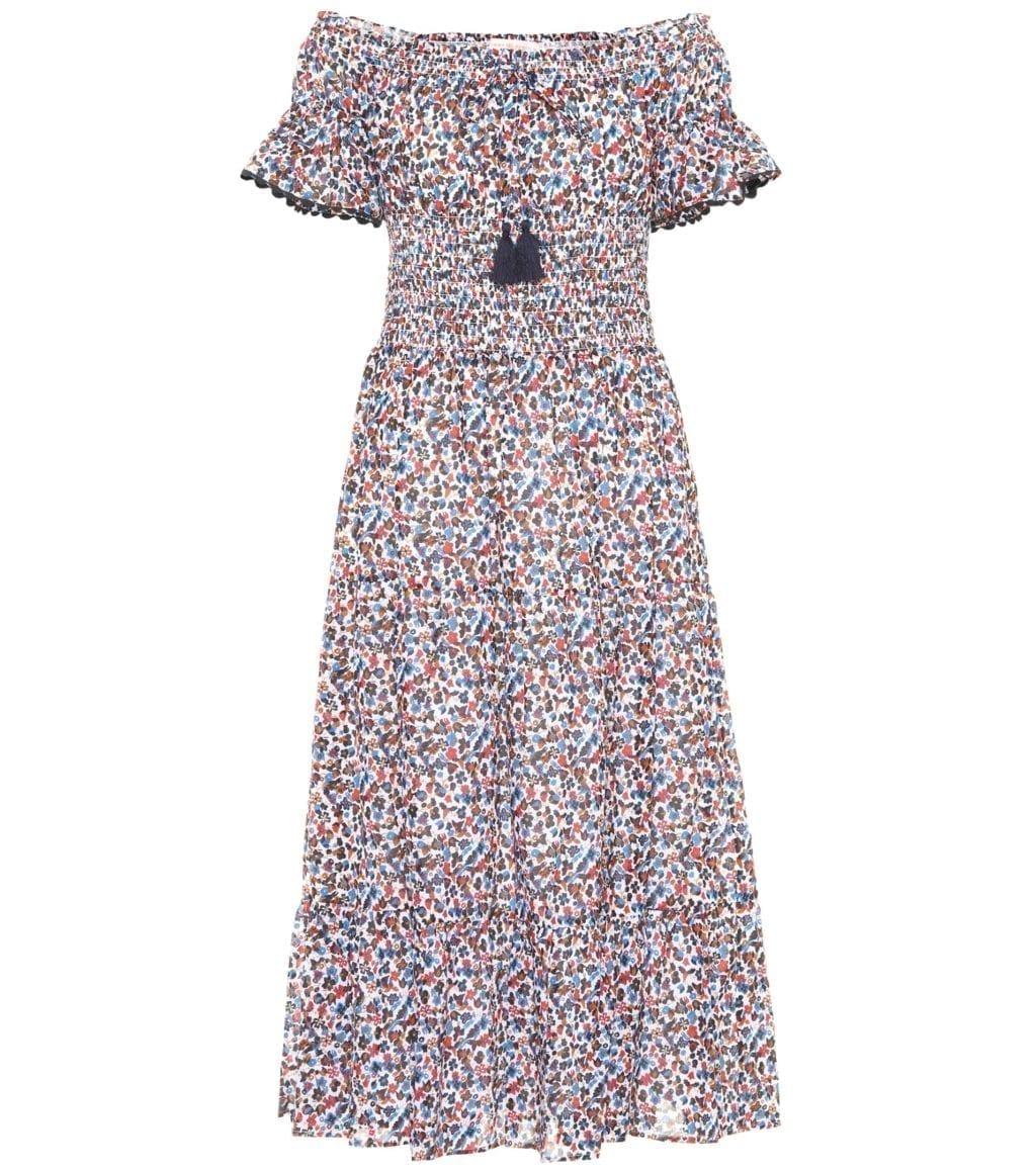 TORY BURCH Wildflower Smocked Cotton Multicolored Dress
