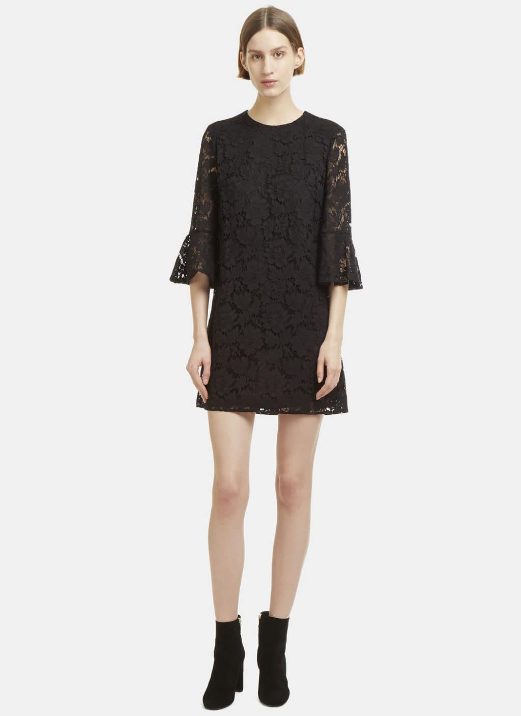 VALENTINO Floral Lace Black Dress