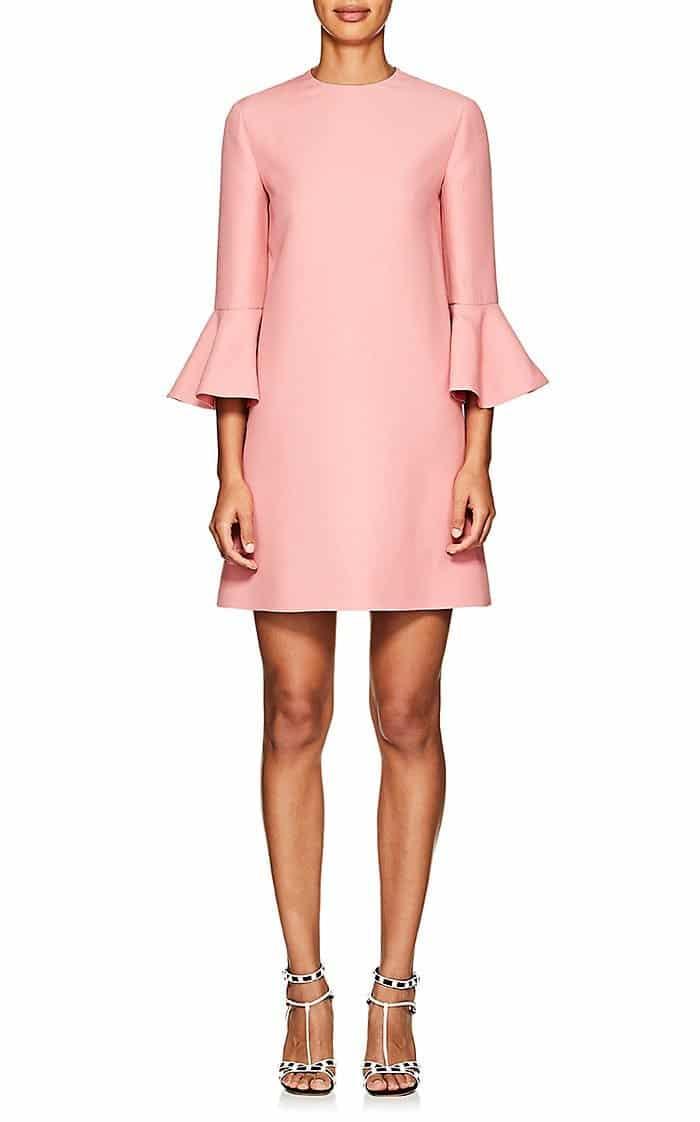 VALENTINO Wool-Silk Crepe Shift Pink Dress