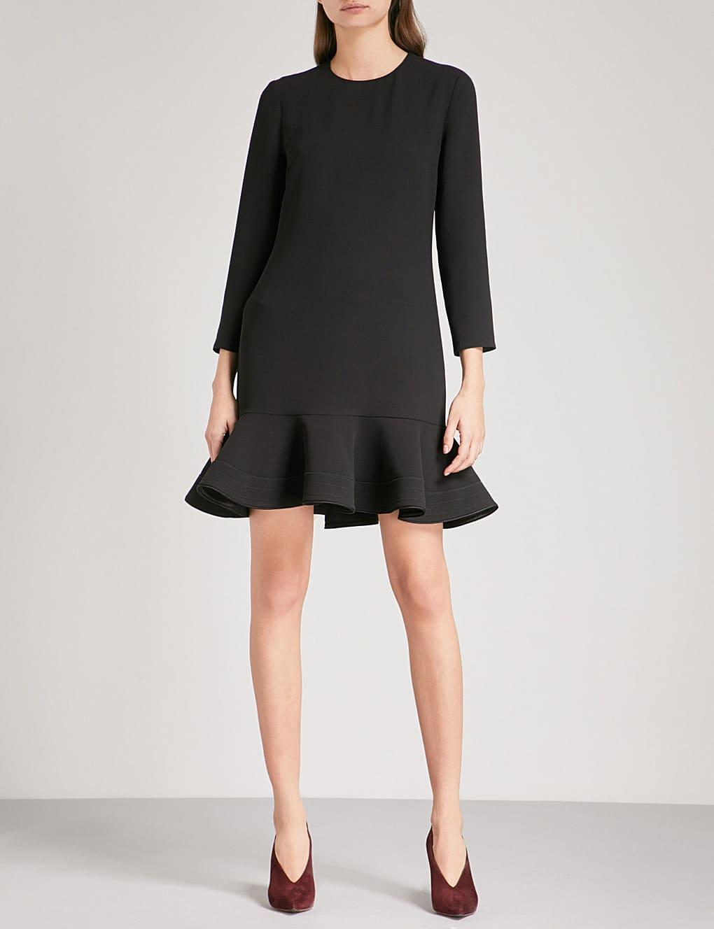 VICTORIA VICTORIA BECKHAM Flounce-hem Crepe Mini Black Dress