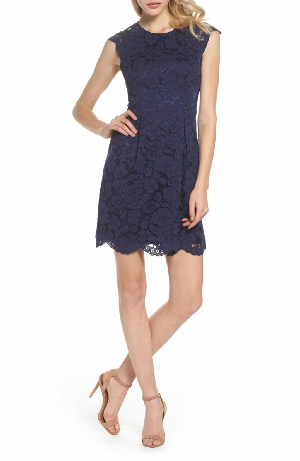 VINCE CAMUTO Lace Fit & Flare Navy Dress - We Select Dresses
