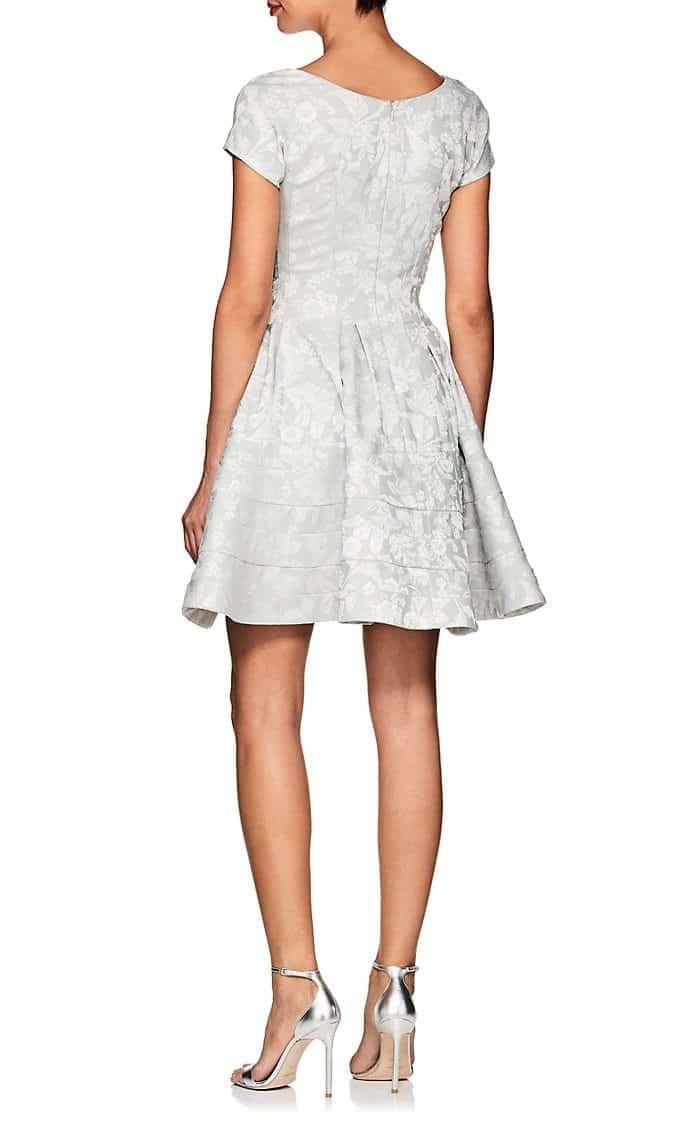 Zac Posen Floral Jacquard Mini Cocktail Silver White Dress We
