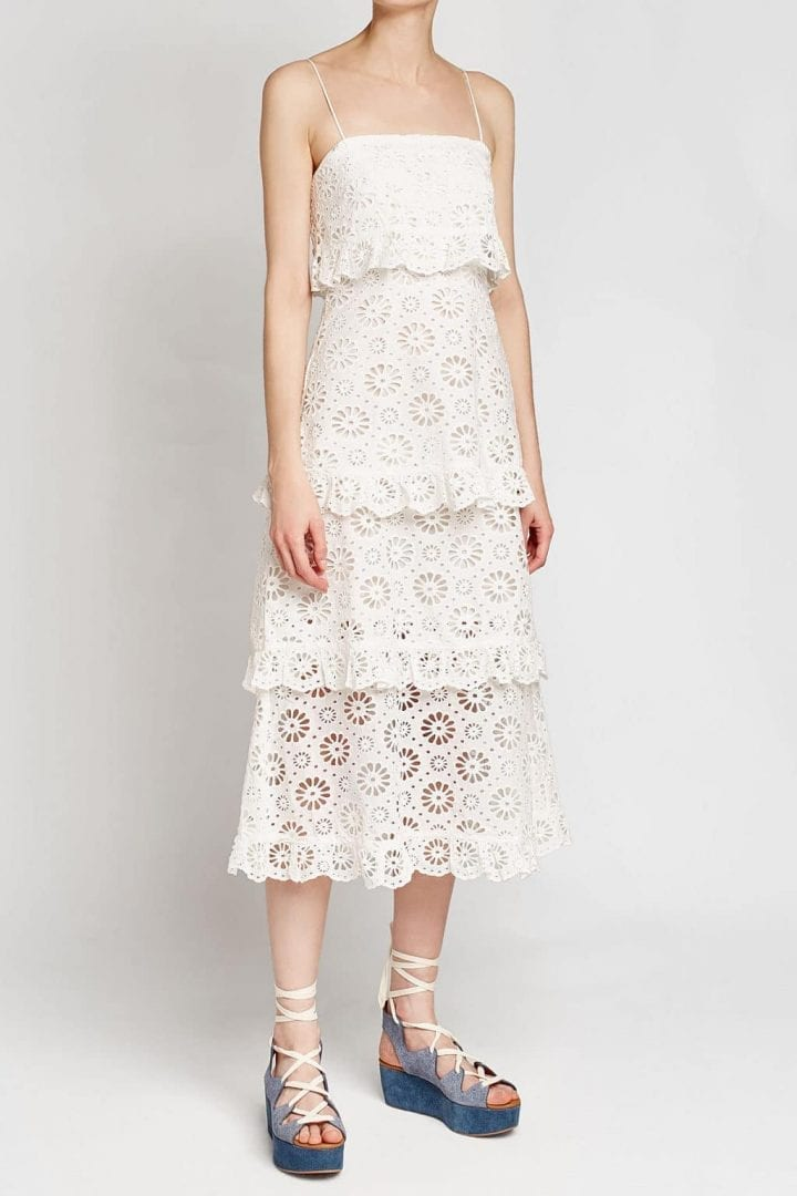 Zimmermann Cut Out Detail Daisy Tier Cotton White Dress