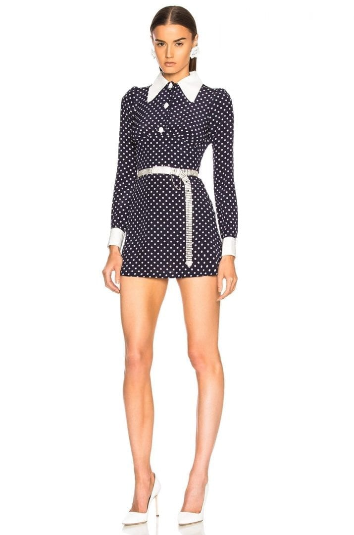 alessandra rich polka dot mini blue white dress we select dresses