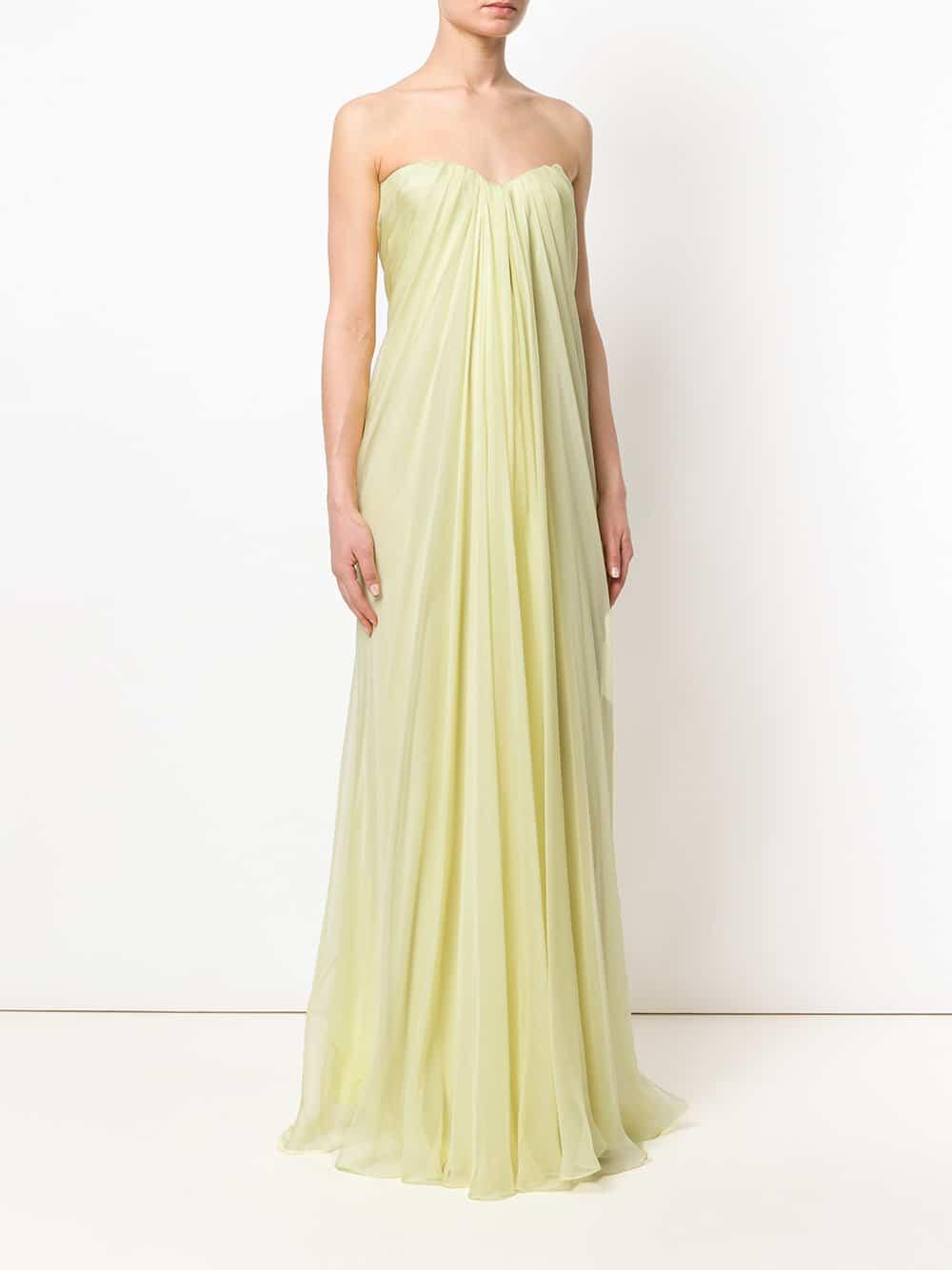 ALEXANDER MCQUEEN Draped Bustier Evening Yellow Dress - We Select ...