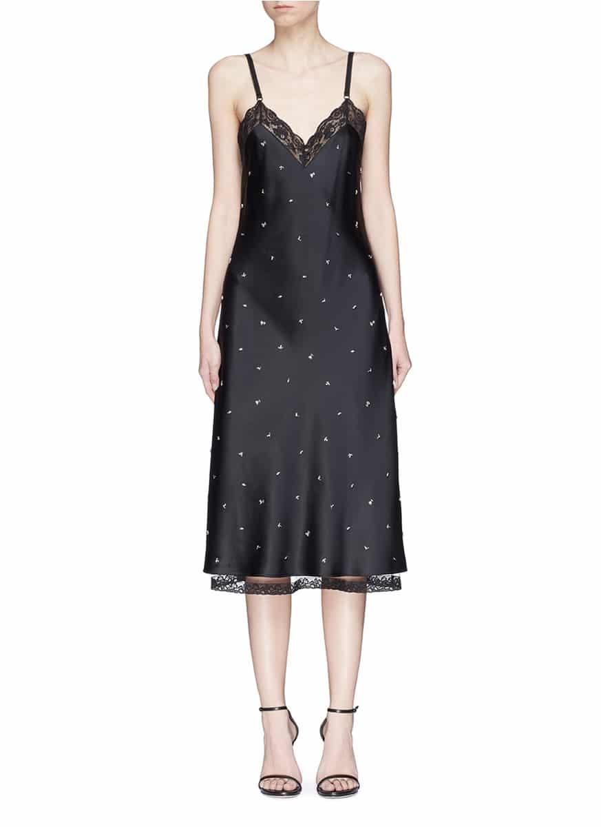 ab683001228cd ALEXANDER WANG Floral Stud Satin Slip Black Dress - We Select Dresses