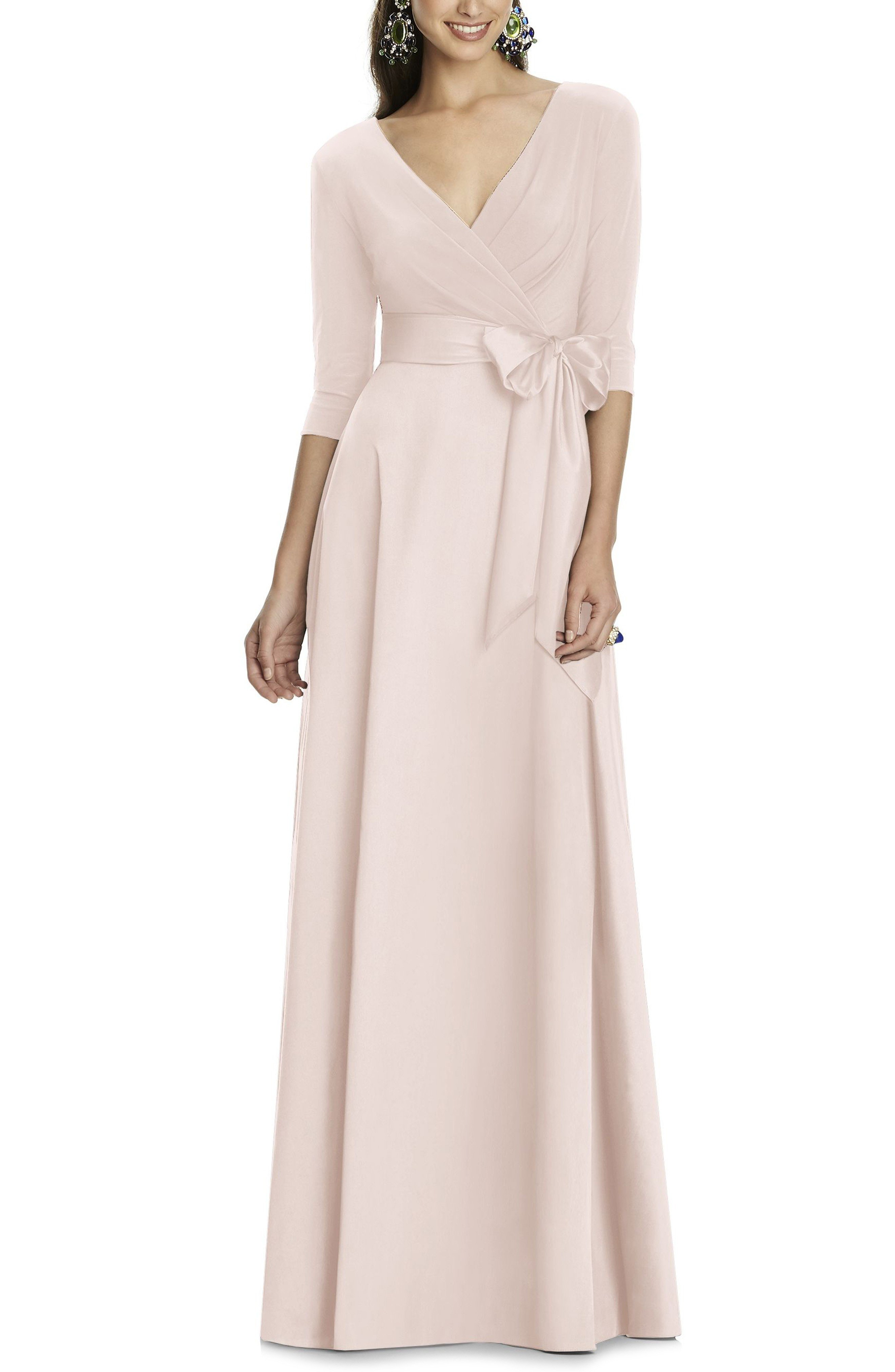 ALFRED SUNG Jersey Bodice A-Line Blush Gown