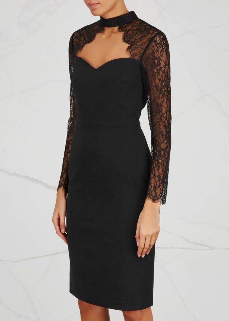 Alice Olivia Helga Cut Out Lace And Crepe Black Dress