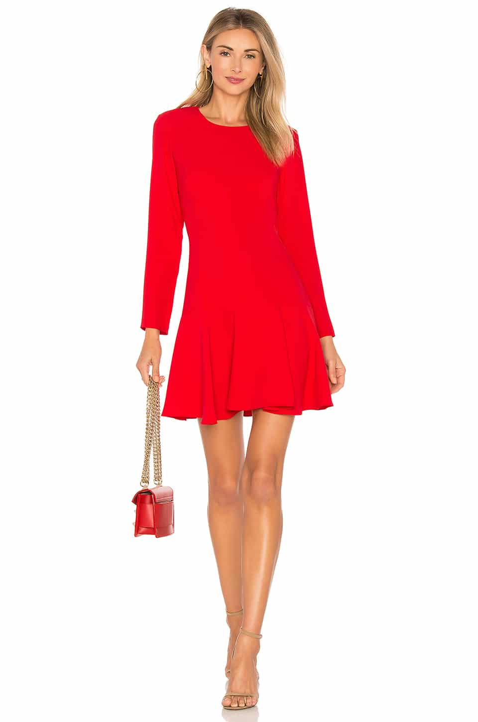 AMANDA UPRICHARD X Revolve Long Sleeve Hudson Mini Lipstick Red Dress